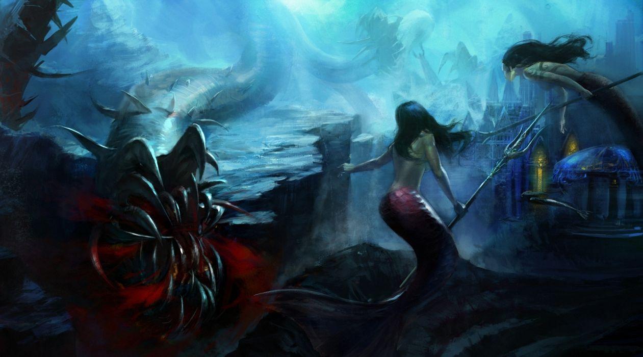 fantasy art mermaids underwater monster dark weapons wallpaper