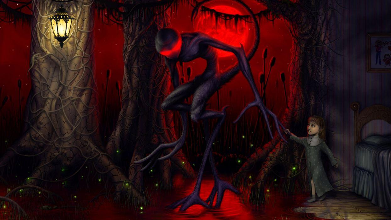 fantasy art dark horror monster alien girl children wallpaper