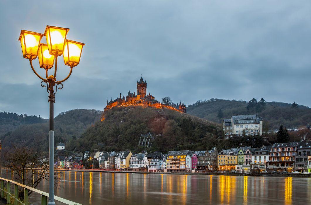Cochem Burg castles architecture buildings town cities rivers sky light lamp wallpaper