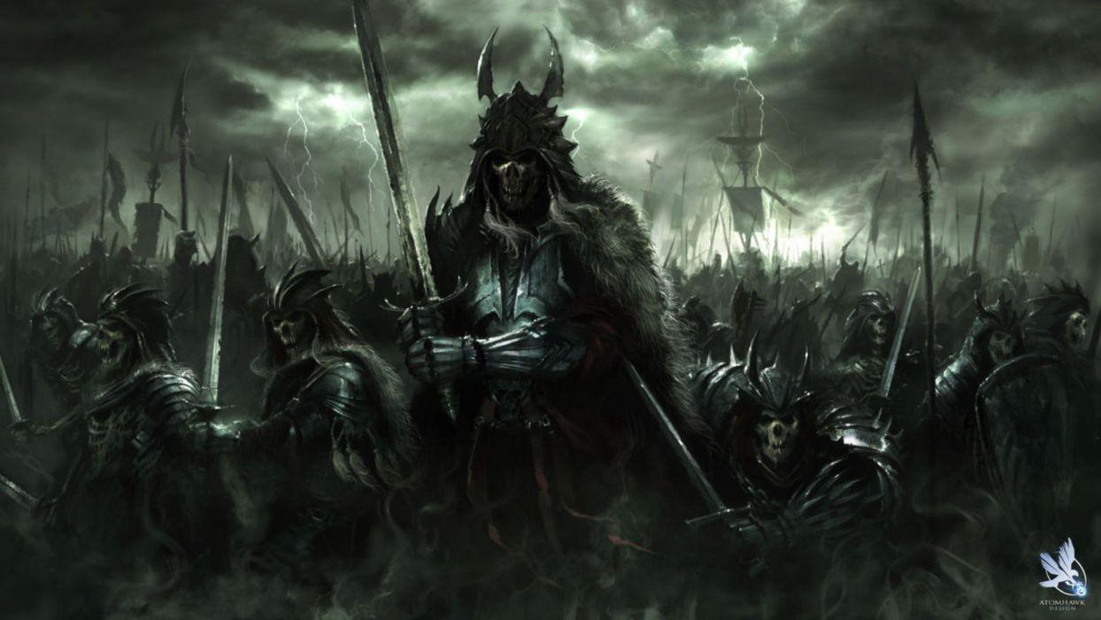 fantasy art dark horror demon skull warrior wepons army wallpaper