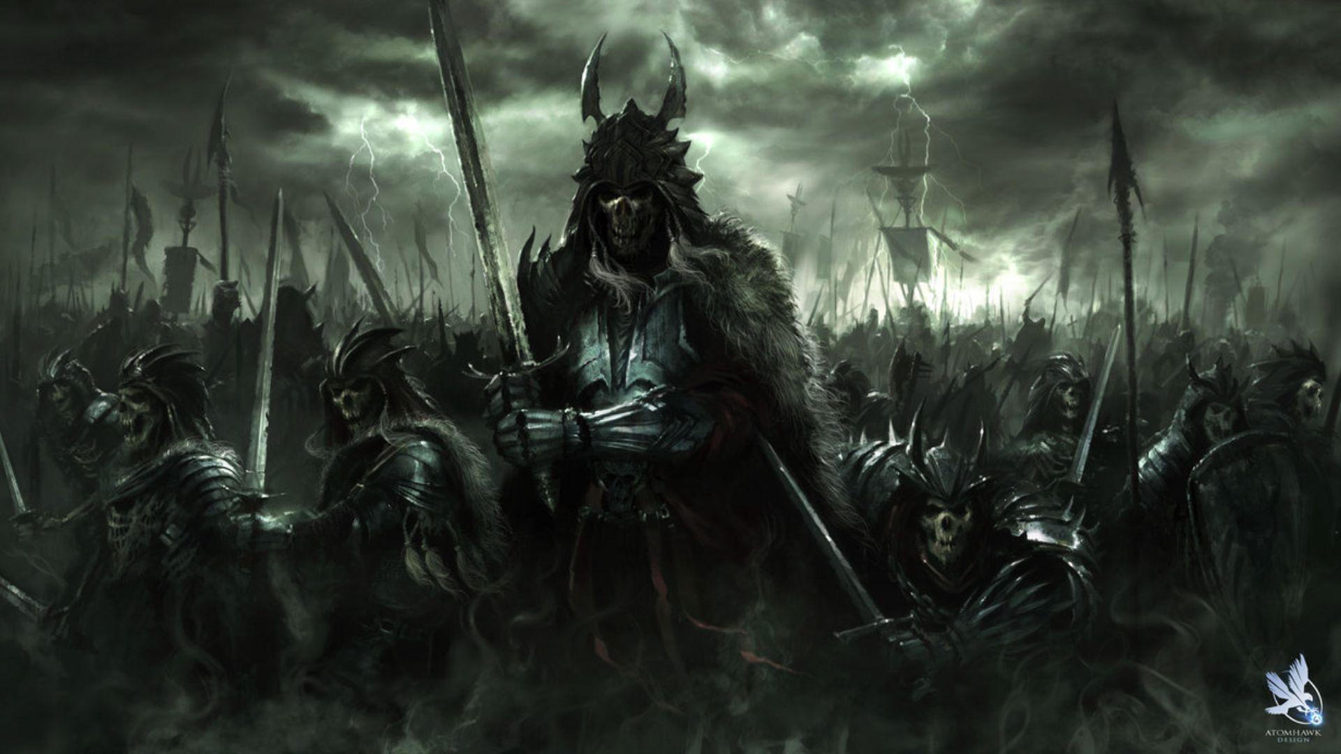 Fantasy Art Dark Horror Demon Skull Warrior Wepons Army