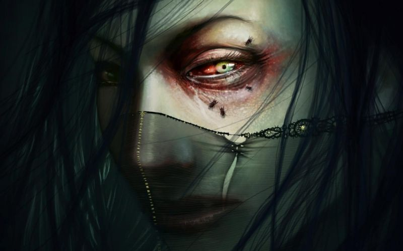 dark horror gothic face eyes gore gross fly mood art wallpaper