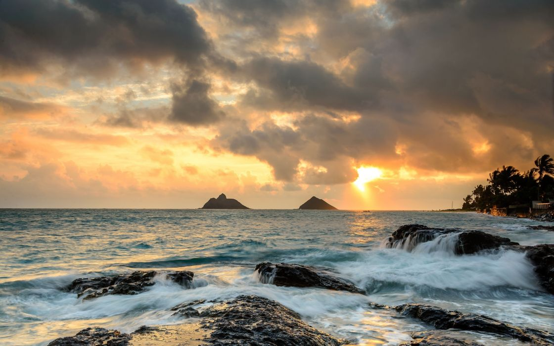 ocean waves beaches shore coast sky sunset sunrise islands wallpaper