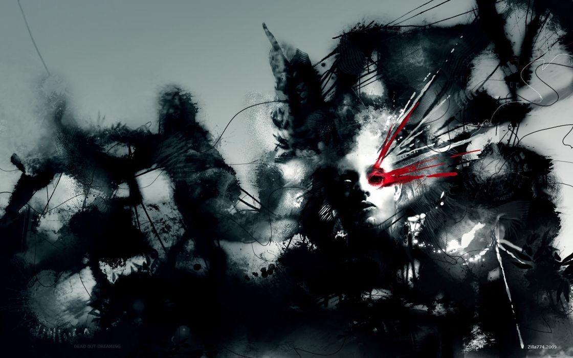 cg digital art paint airbrushing dark horror gothic fantasy art women red blood 3d surreal wallpaper