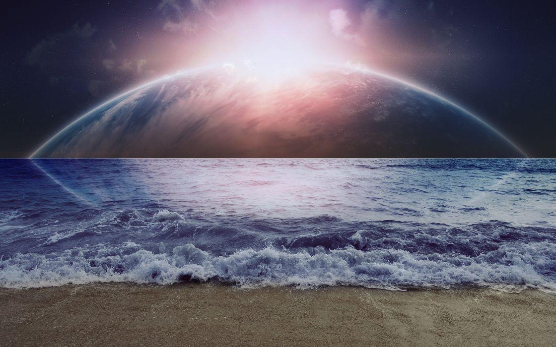 beaches ocean waves dream sci fi planets moons sky sun manip wallpaper