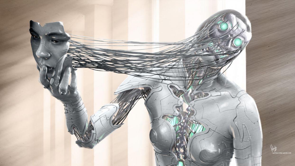 dark horror sci fi cyborg 3d cg digital art robot mask face alien futuristic wallpaper