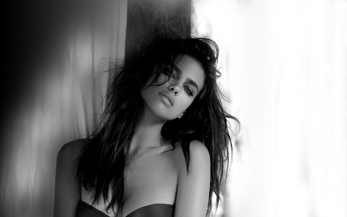 irina shayk sheik women model brunette fashion babes sexy black white wallpaper