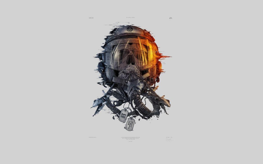 battlefield helmet skull chains graphics mask dark horror art wallpaper