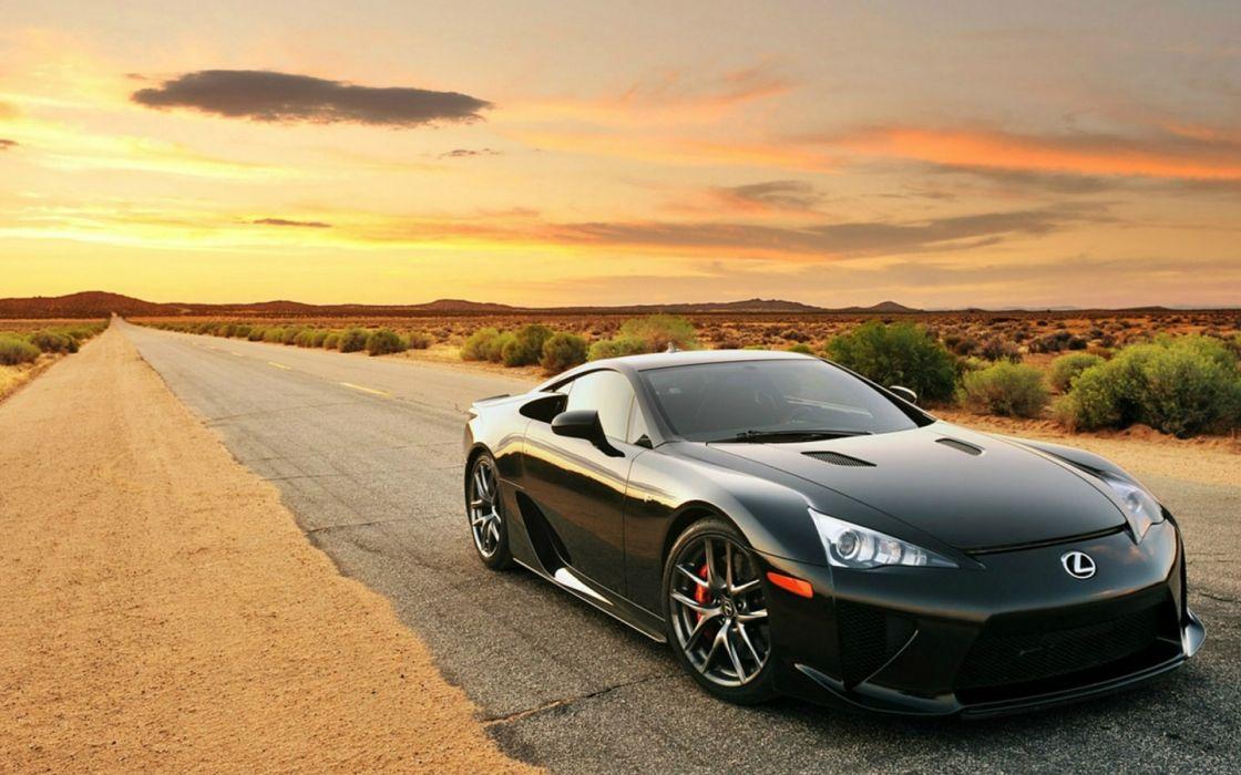 Black Lexus desert road wallpaper