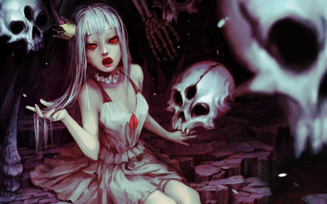 dark horror monster vampire skulls blood demon fantasy wallpaper