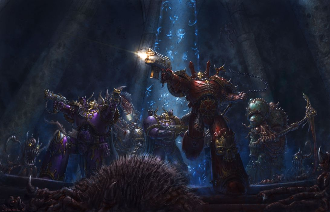 Warhammer 40000 Warriors Pistols Armor Firing fantasy art sci fi battle weapons wallpaper