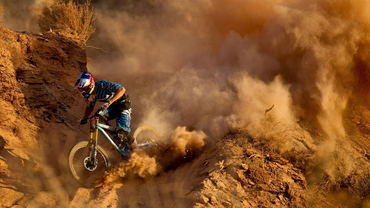 Mountain Bike Bicycle Dust Dirt red bull racing track wallpaper