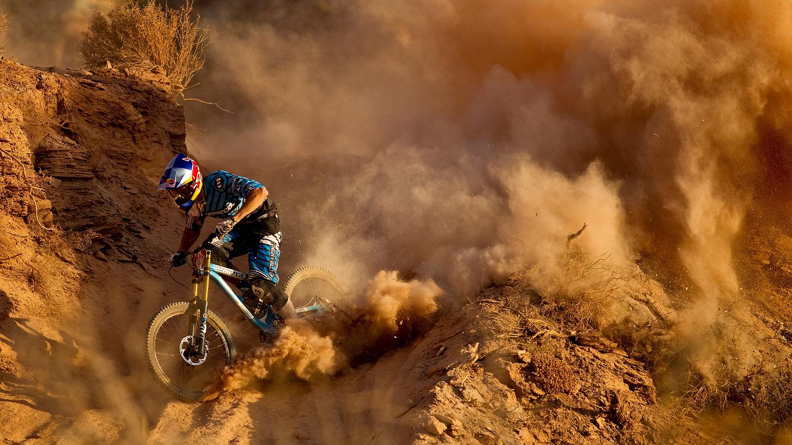 mountain bike bicycle dust dirt red bull racing track wallpaper