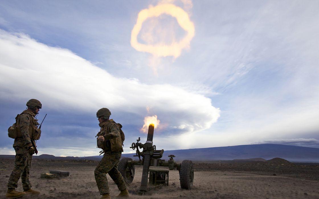 Mortar Soldiers Blast weapons guns explosion fire warriors soldiers battle war wallpaper