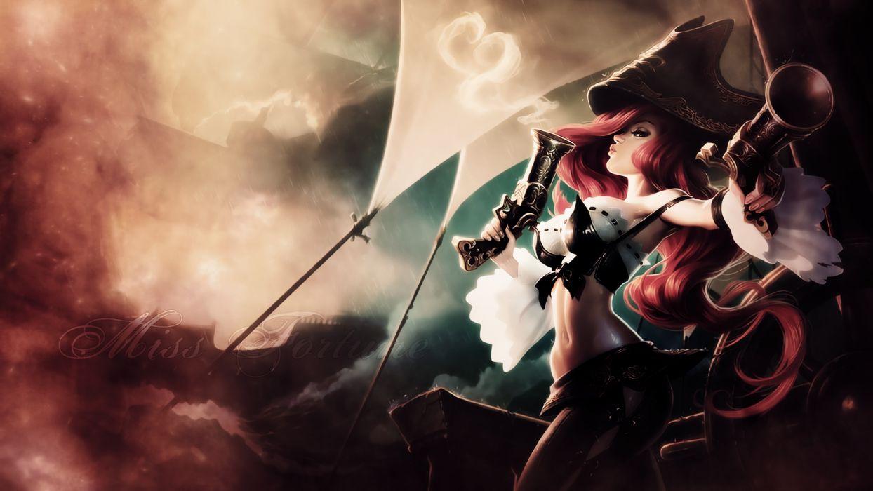 League of Legends Pistols Girls Fantasy Redhead girl fantasy art pirates wallpaper