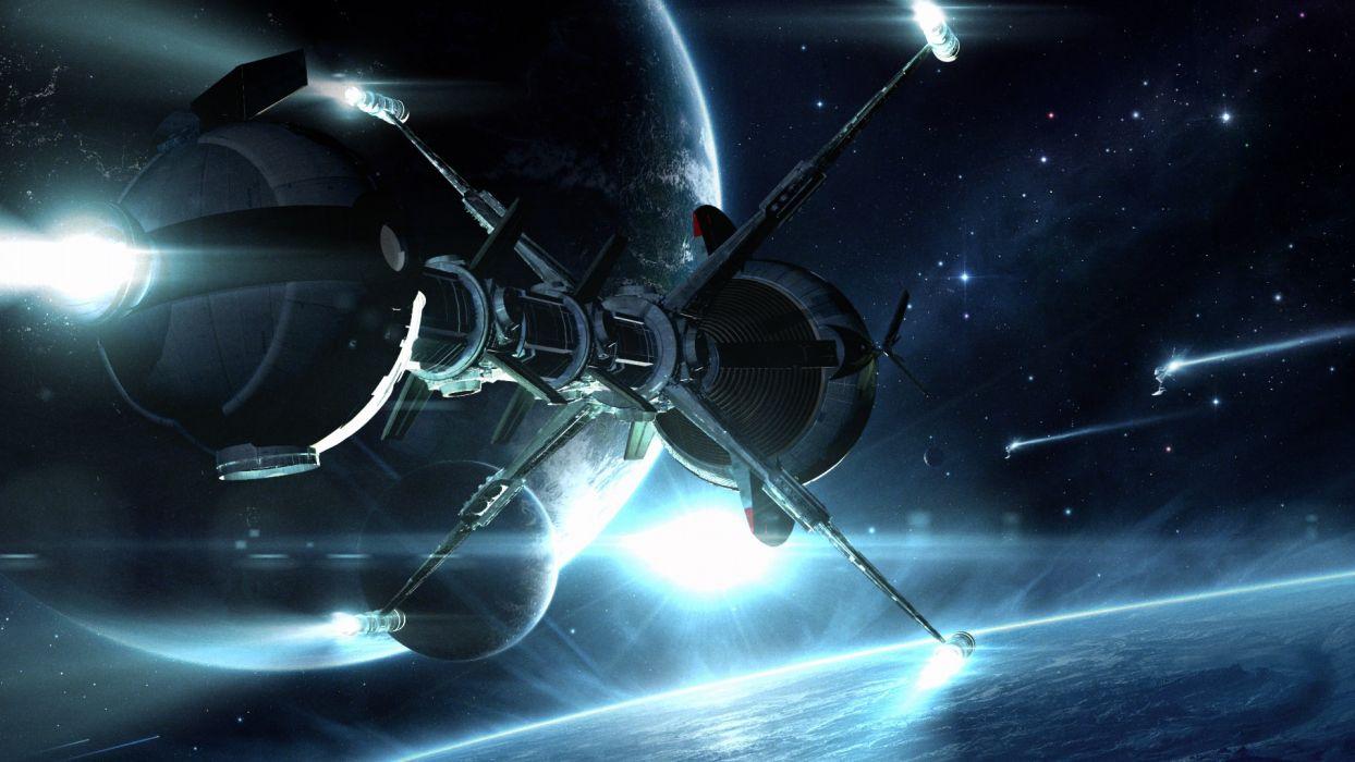 sci fi spacecraft spaceship planets stars art wallpaper