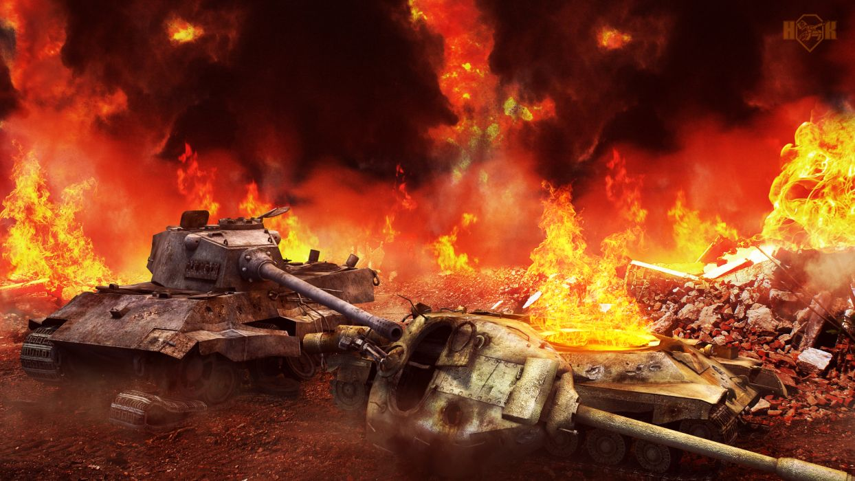 World of Tanks military weapons fire destruction wallpaper