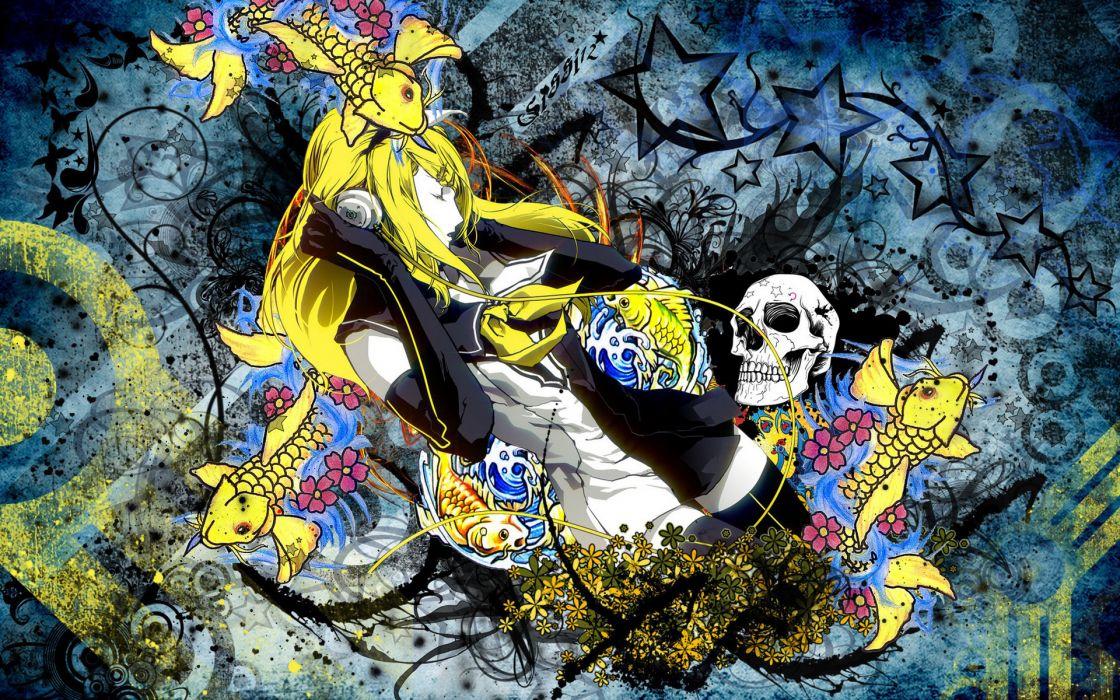 Vocaloid Skulls Headphones Girls skulls dark horror art wallpaper