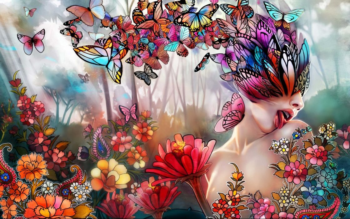 Fantasy Art Women Girl Butterfly Lips Face Psychedelic Nature