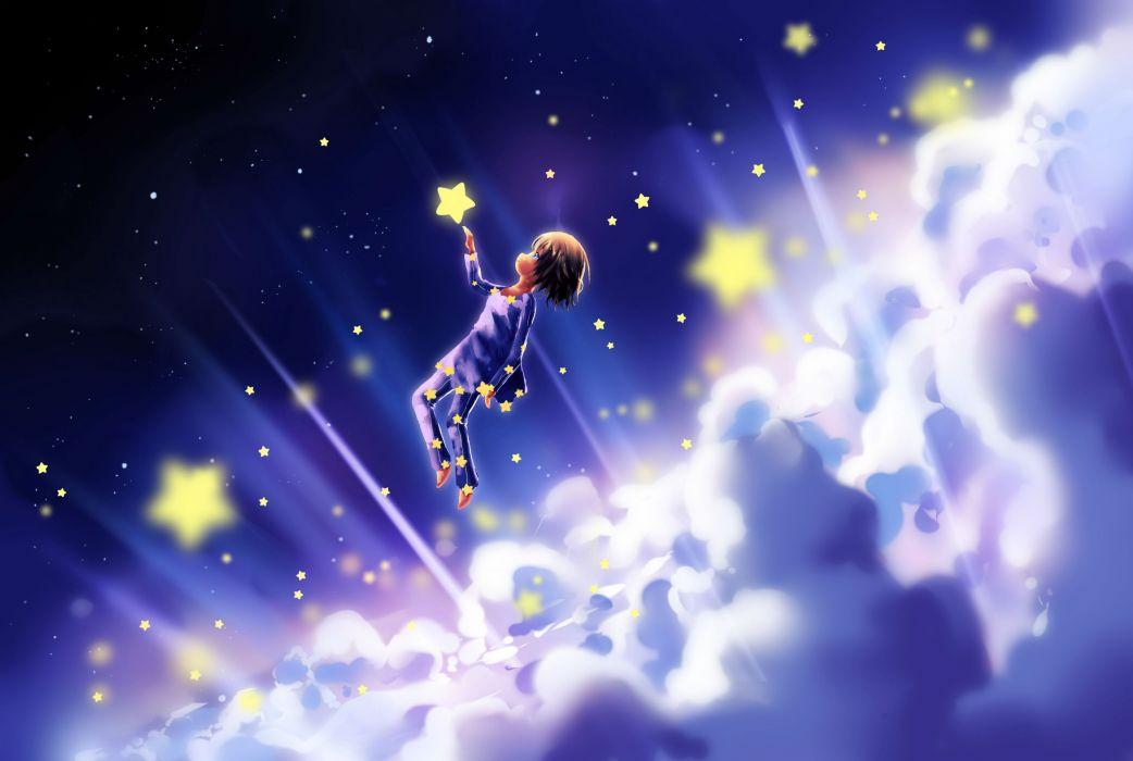 fantasy art sky stars children clouds dream cute wallpaper