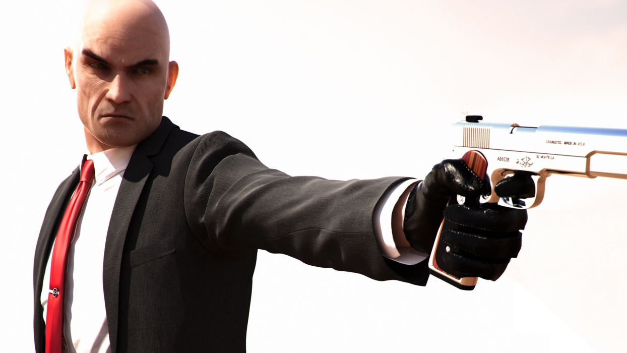 Hitman White Handgun weapons guns assassinsmen wallpaper