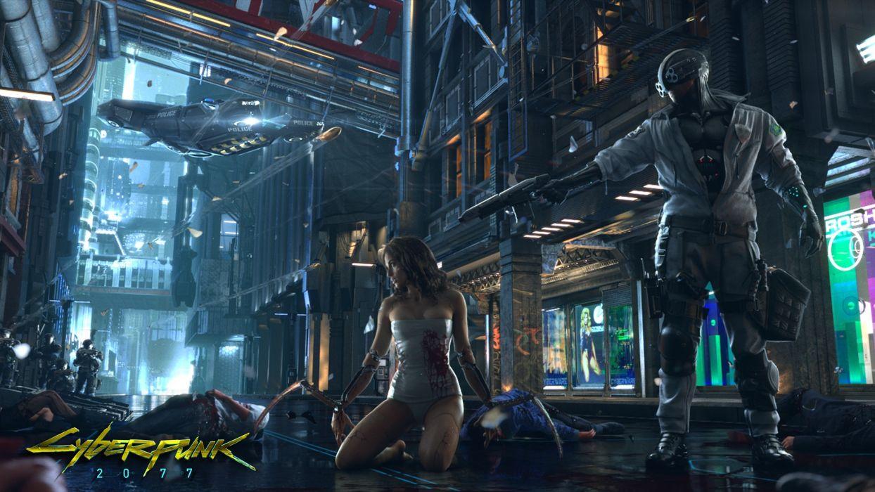 Cyberpunk 2077 sci fi futuristic weapons women men cyborg robot guns art wallpaper