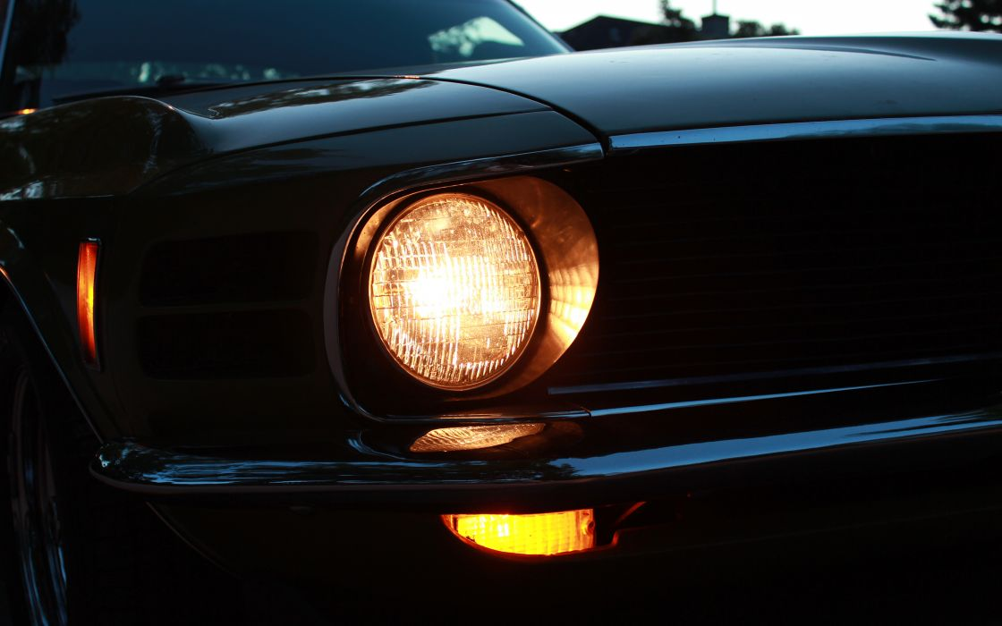 Ford Mustang Classic Car Classic Headlight muscle cars wallpaper