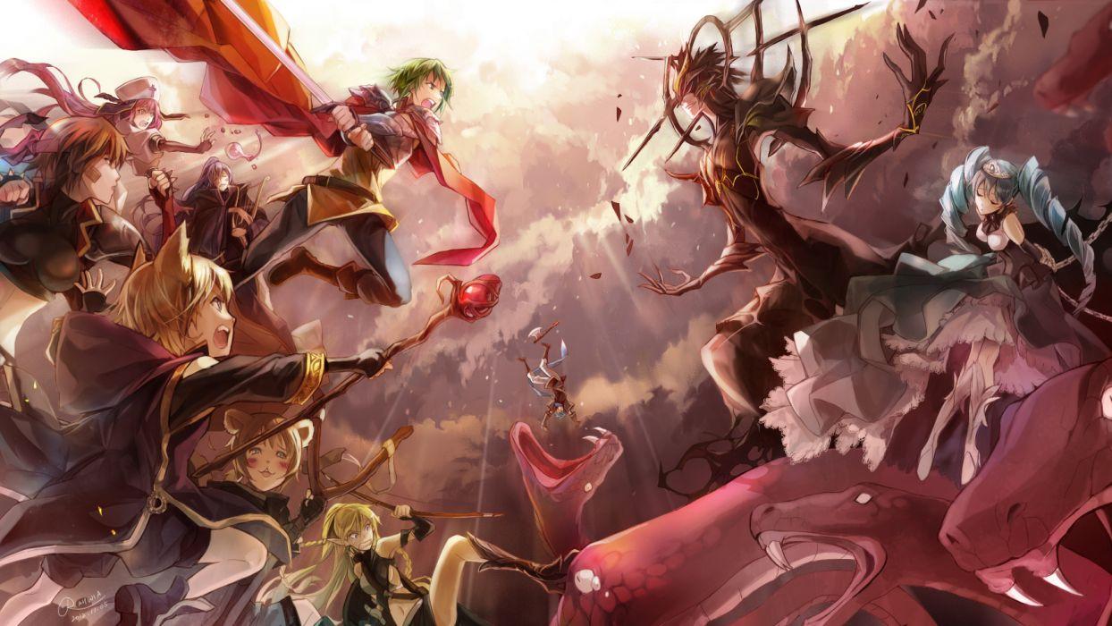 Vocaloid Guys battle weapons art fantasy wallpaper