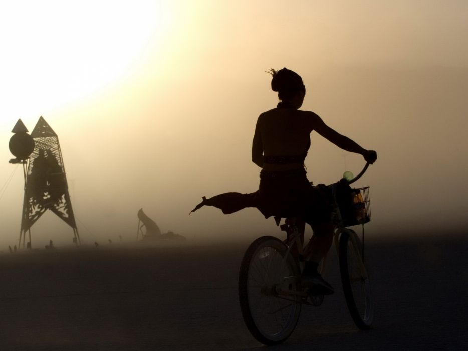 mood situation vehicles fog bicycle beaches women model silhouette wallpaper