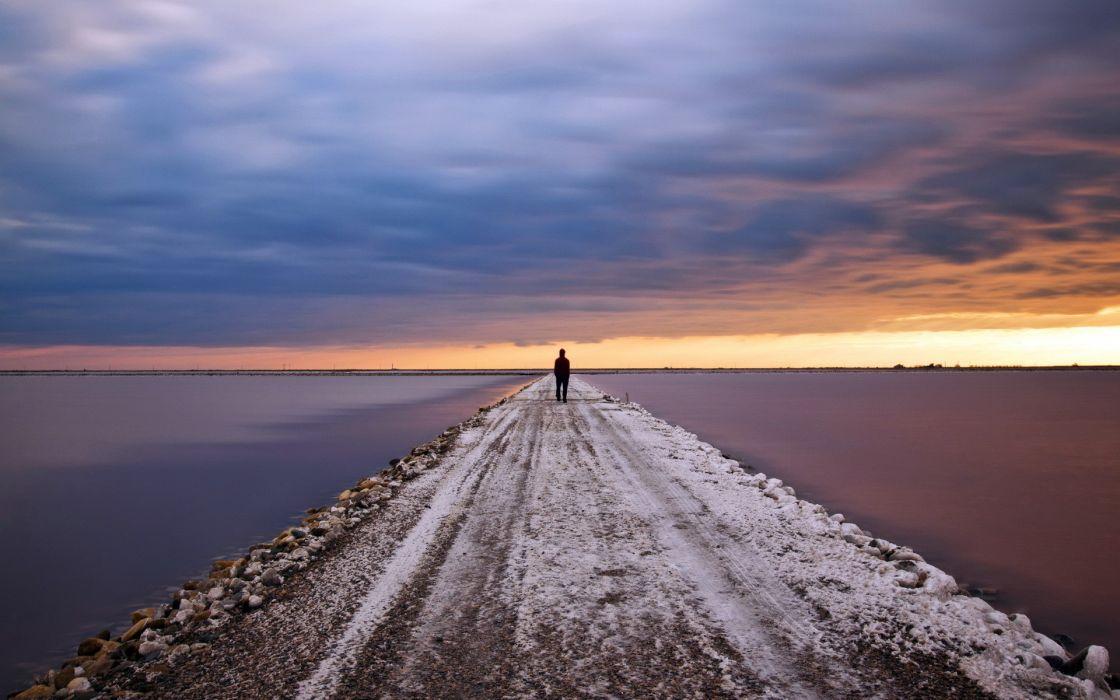 mood alone jetty roads pier lakes ocean sunset sky clouds people wallpaper
