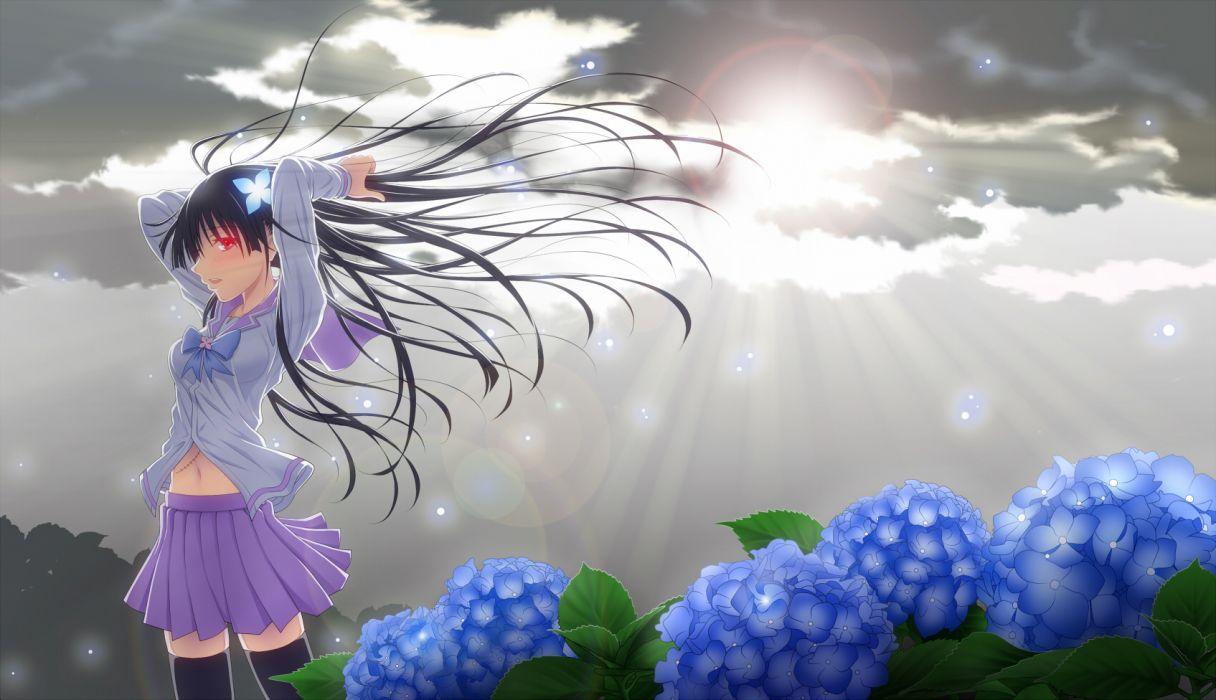 Sankarea Girls art flowers soft sky clouds sunlight wallpaper