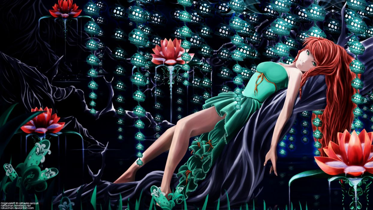original art fantasy girl flowers women sexy babes detail wallpaper