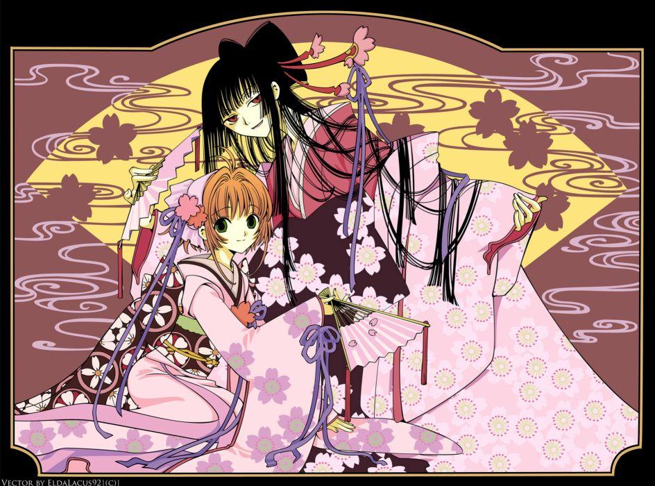 xxxHOLiC Girls asian oriental kimono flowers art wallpaper