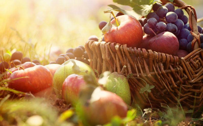 apples grapes pear basket still life wallpaper