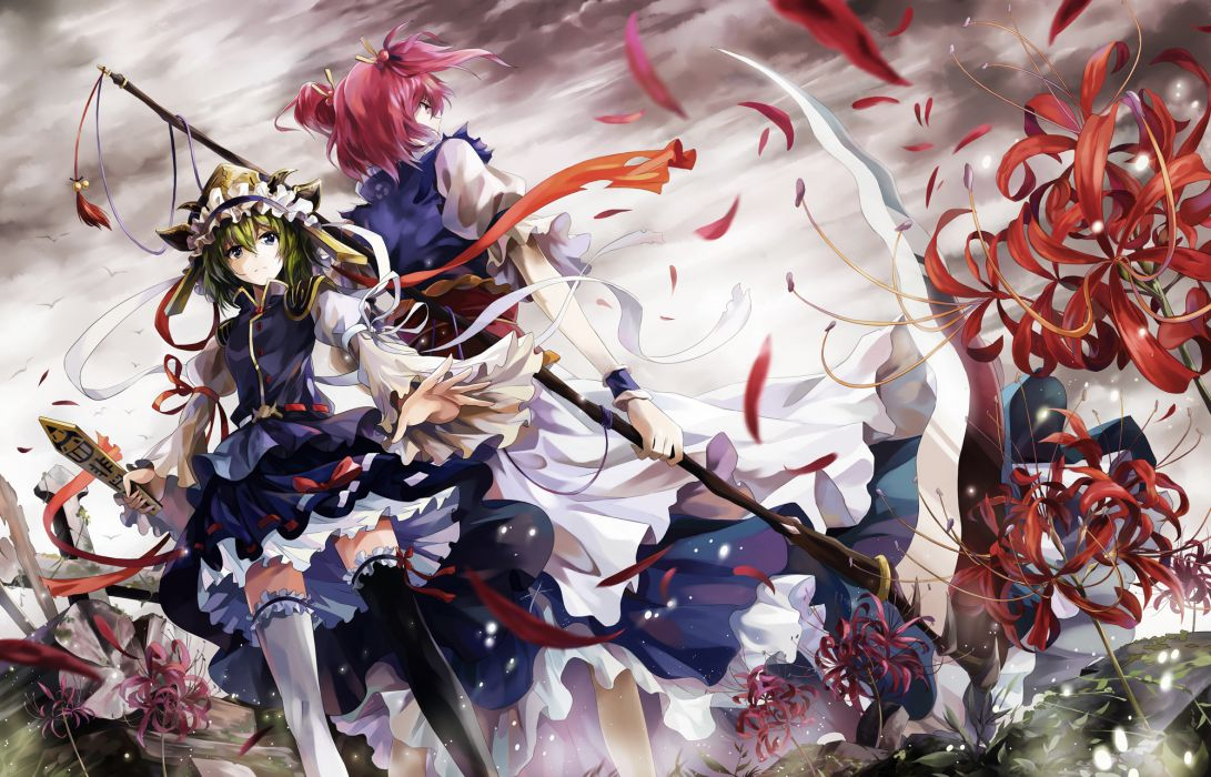 Touhou Collection Girls Scythe art weapons sword flowers wallpaper
