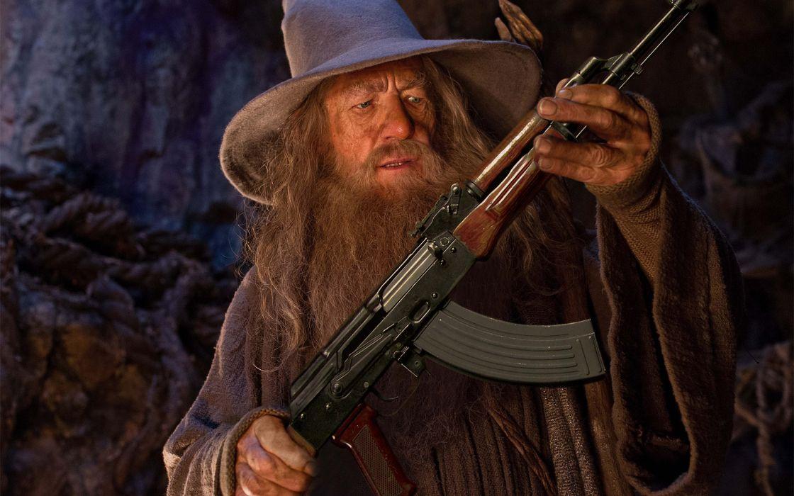 Gandalf gray automatic kalashnikov AK hat humor fantasy magic wizard lotr lord rings hobbit wallpaper