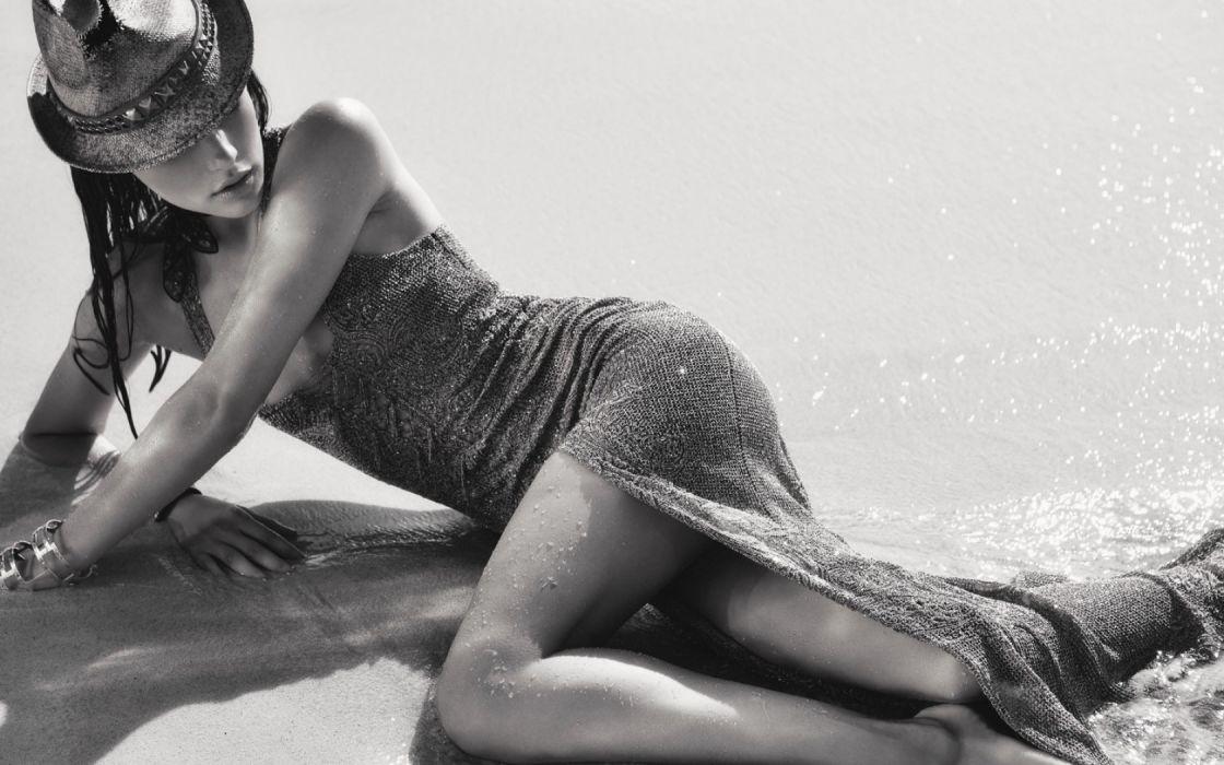 Bekah Jenkins women model fashion brunettes sexy babes beaches black white wallpaper