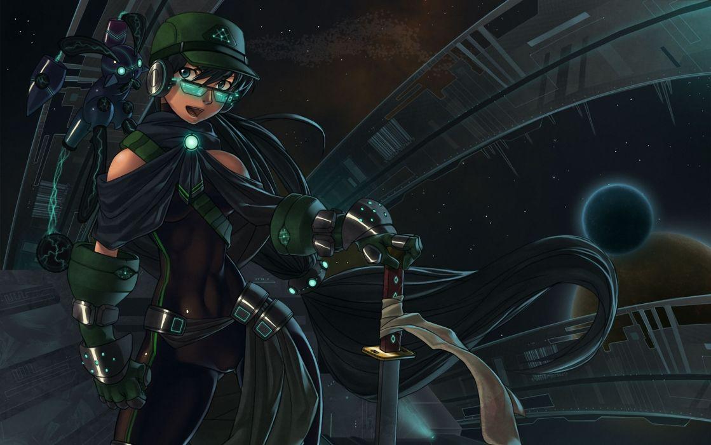 original sci fi warrior girl women art dark futuristic wallpaper