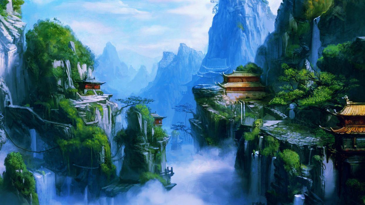 fantasy art asian oriental landscapes buildings castles mountains waterfalls rivers fog spray wallpaper