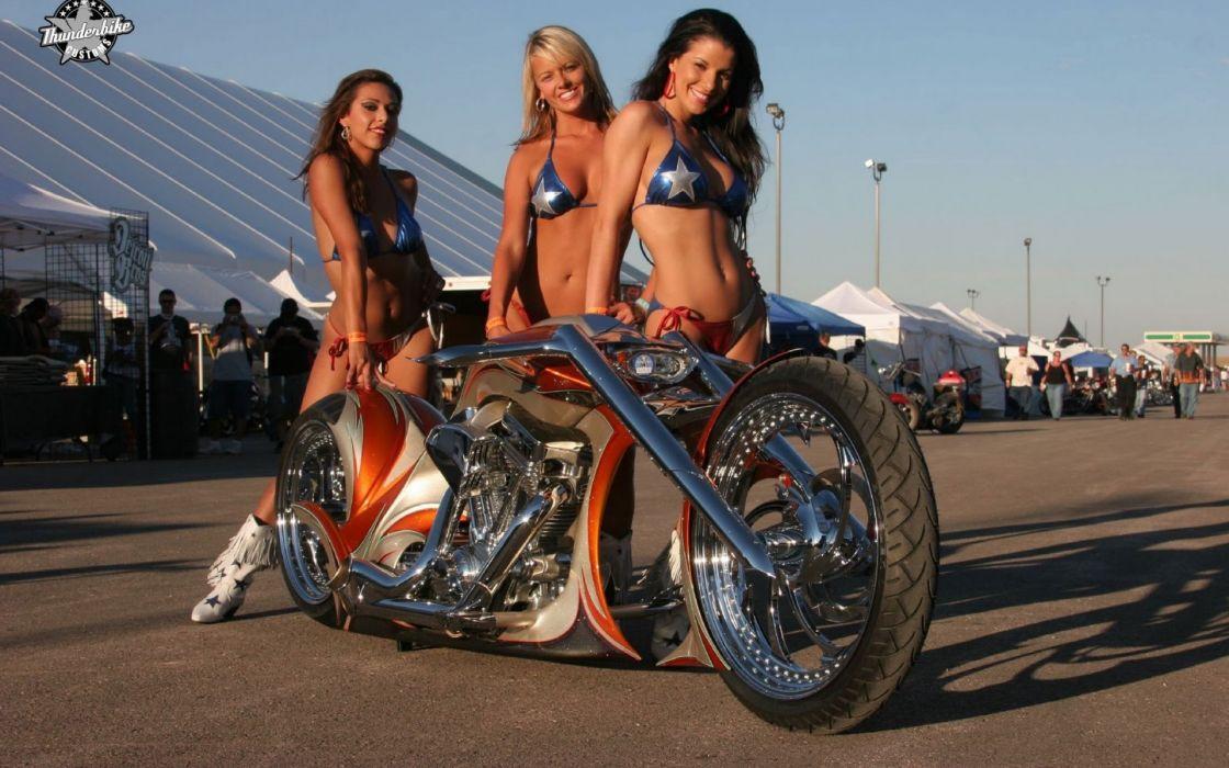 custom chopper motorbikes wome model brunettes sexy babes wallpaper