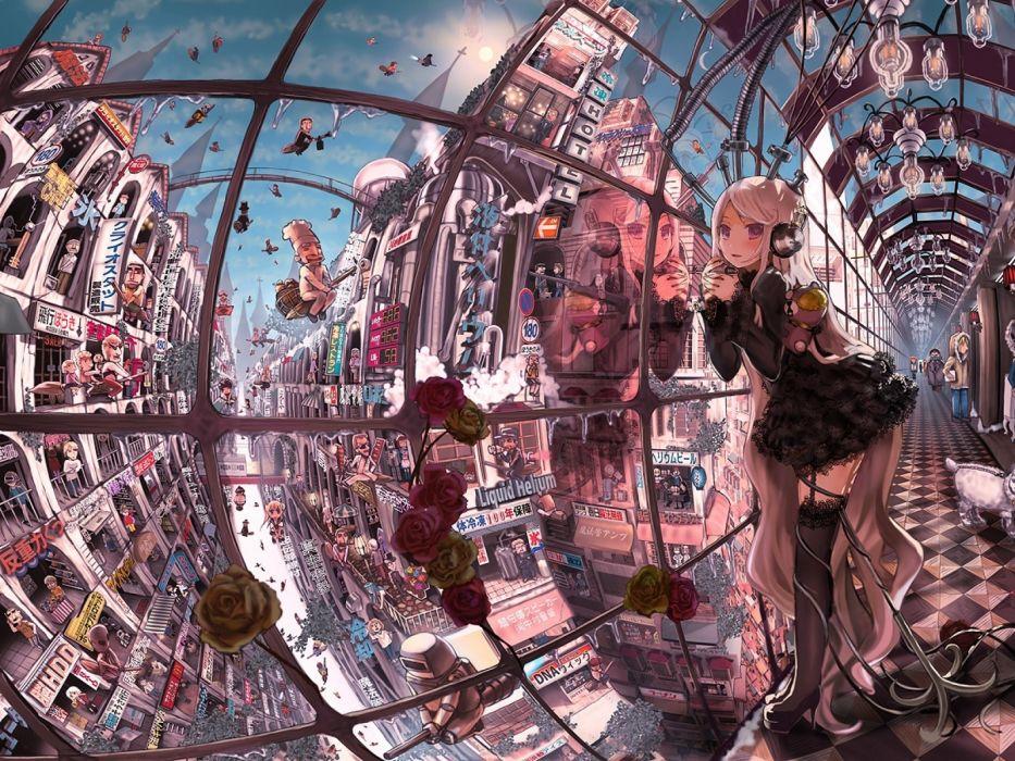 John Hathway art girl women lingerie sexy babes cities detail wallpaper