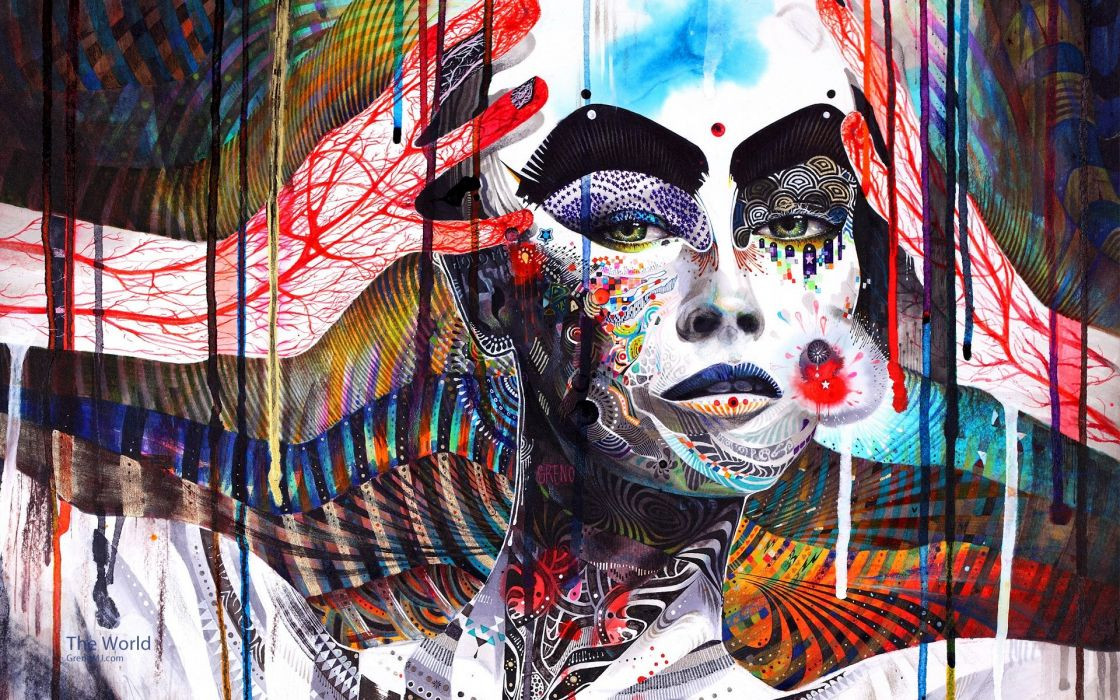 psychedelic art color women blood face urban wallpaper