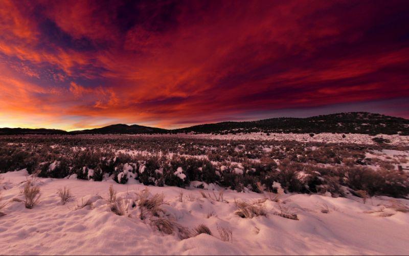 desert winter snow sky clouds sunset sunrise hills wallpaper