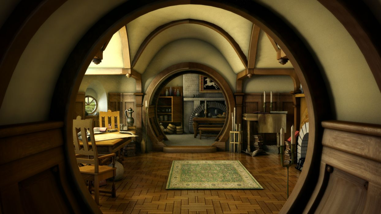 The Hobbit lord rings lotr architecture house room building fantasy interior design wallpaper