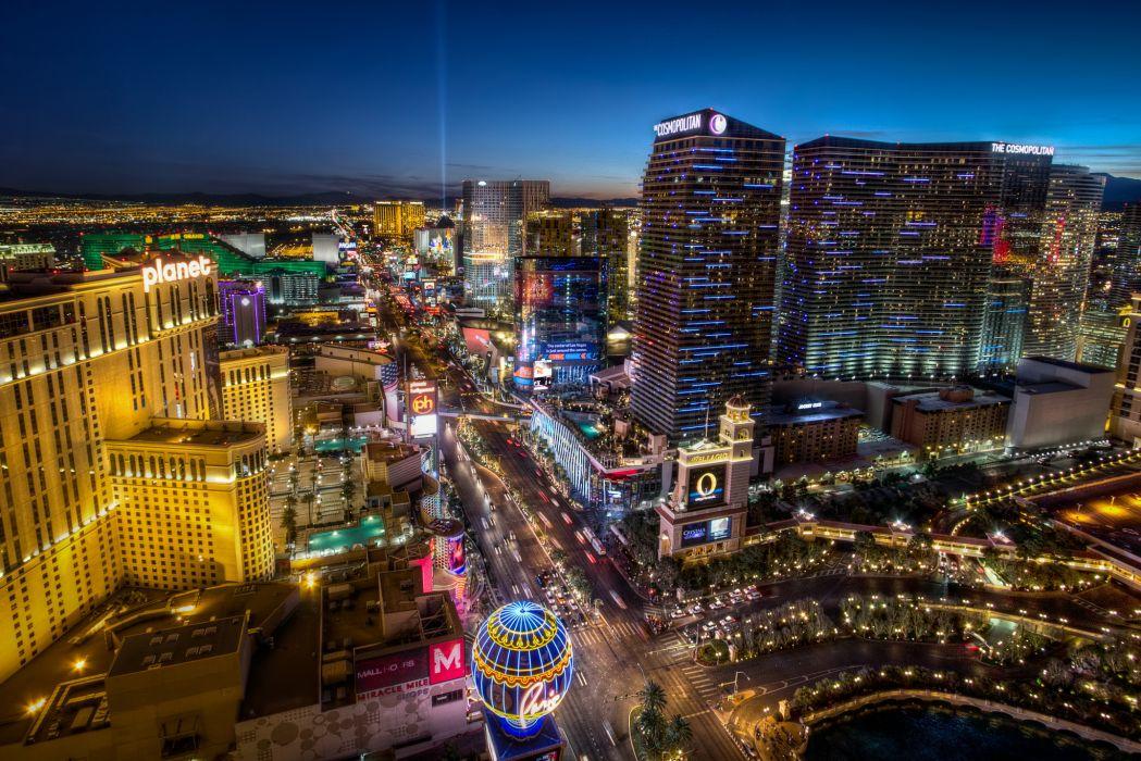 Las Vegas Strip hdr buildings signs neon roads wallpaper