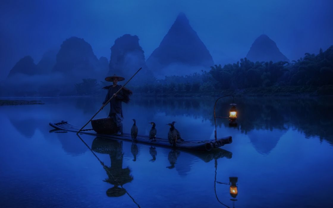 cg digital art lakes reflection mood solitude peace birds boats mountains landscapes trees fog jungle wallpaper