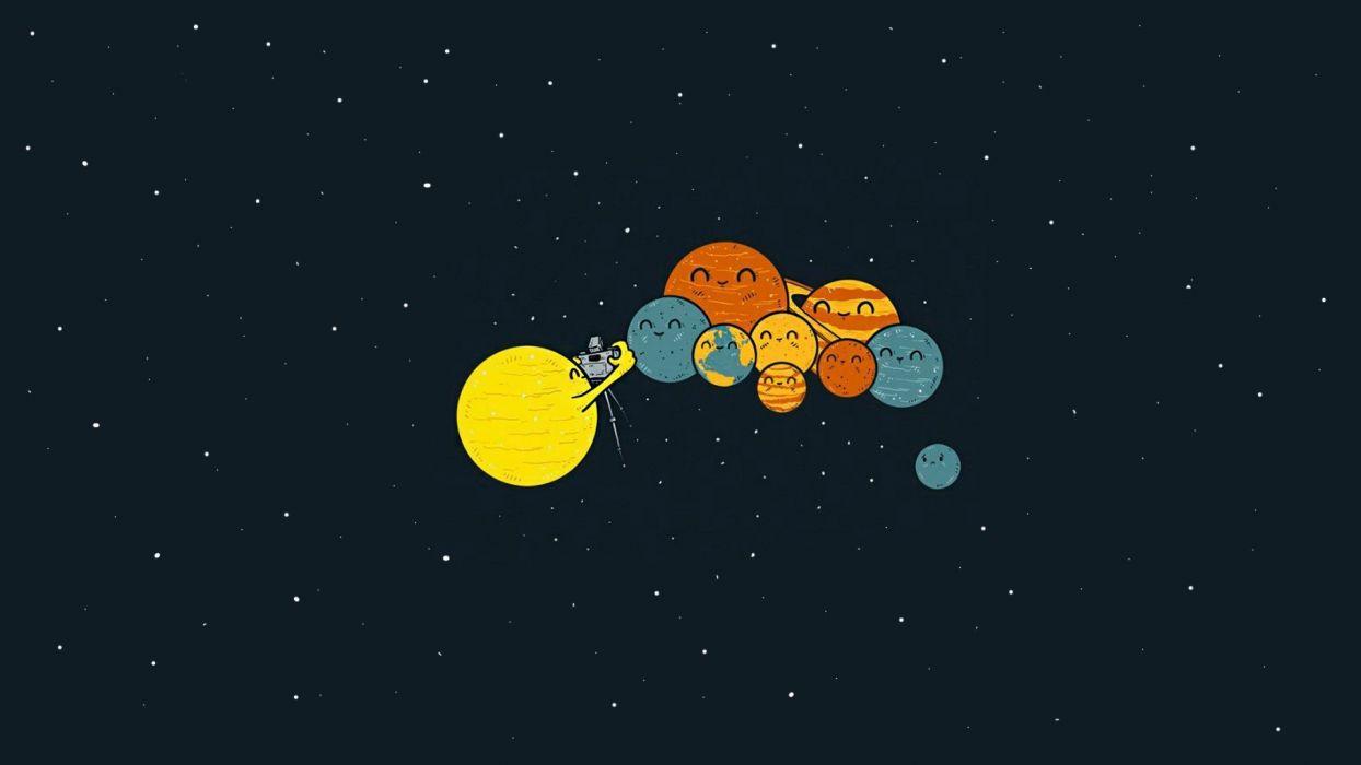 Sci fi humor cute planets sun wallpaper