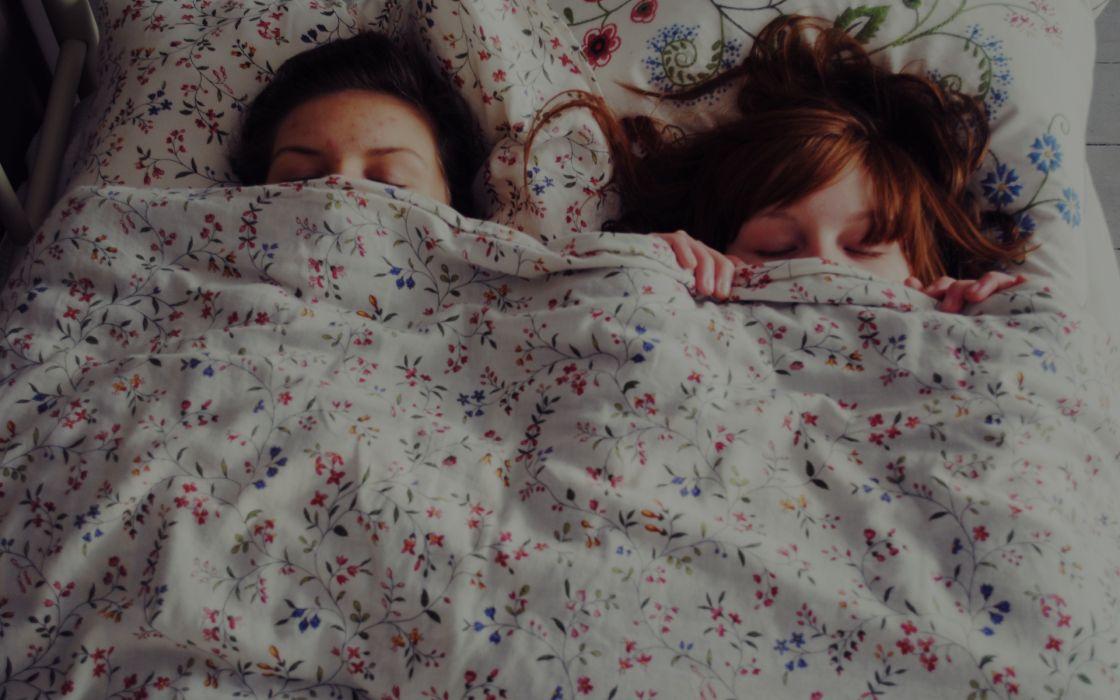women mood sleep bed faces redhead brunettes wallpaper