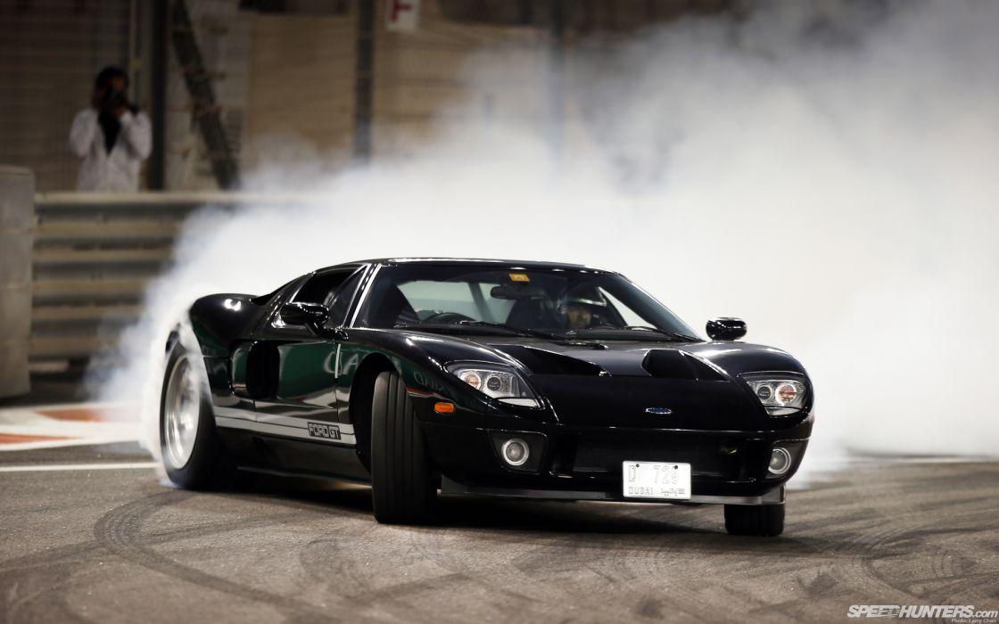 Ford Gt supercars drift smoke burnout track racing wallpaper