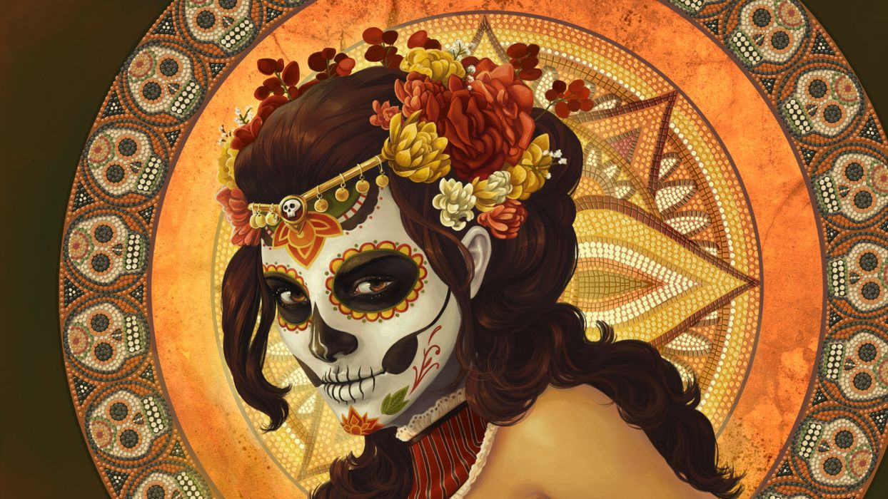 day of the dead dia de los muertos mexican dark horror witch skull